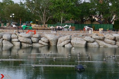 The fountain for the show will just peak out of the water but they still do take away from the pristine lagoon view.