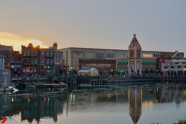 The Sun sets over Universal's Cinematic Celebration.