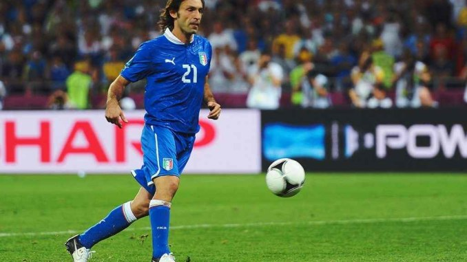 Andrea Pirlo playing for Italy.