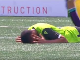 Simon Adjei lying face-down on the ground after missing agaisnt Pacific.