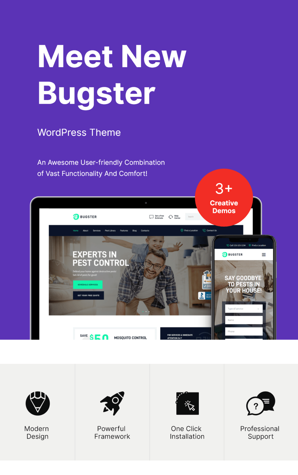 Bugster | WordPress theme for the control of insects and pests for domestic services - 1