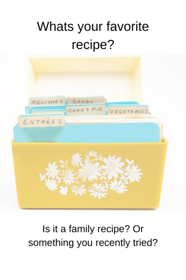 yellow recipe box with flowers on the front.