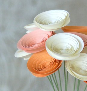 Paper flowers, by FlowerThyme on etsy.com