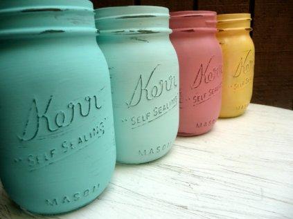Painted mason jars, by BeachBlues on etsy.com