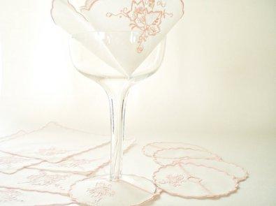 Vintage cocktail napkins and wine glass coasters, from vintagebiffann on etsy.com