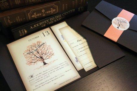 Autumn vintage book-style invitation, by vohandmade on etsy.com