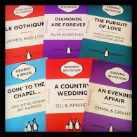Penguin book-style invitation, by MartyMcColgan on etsy.com
