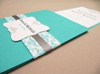 Tiffany-blue pocketfold invitation, by JutingDesignStudio on etsy.com