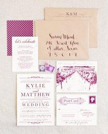Vineyard wedding invitation, by seahorsebendpress on etsy.com