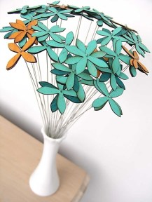 Wooden flower table decorations, by uncommon on etsy.com