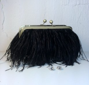 Ostrich feather clutch purse, by SaraCaccessories on etsy.com