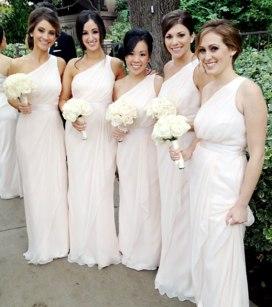 Ashley Hebert's bridesmaids wore Grecian-style light pink dresses by Badgley Mischka