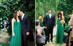 Bride in an emerald dress