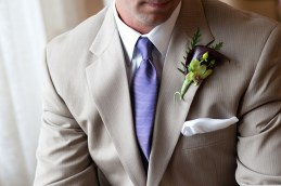 Groom in a taupe suit