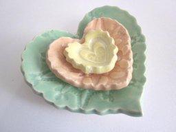 Nested heart dish, by DarriellesClayArt on etsy.com