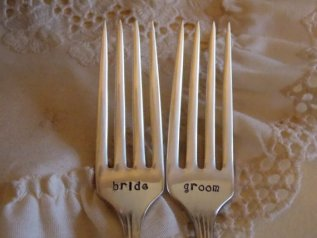 Personalised cake forks, by younameitjewelry on etsy.com