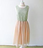 Vintage mint and peach dress, by ShopModernAntoinette on etsy.com