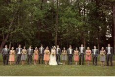 Wedding party in coral and grey