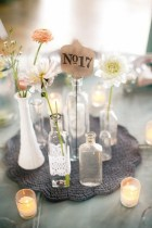 Glass bottle centrepiece