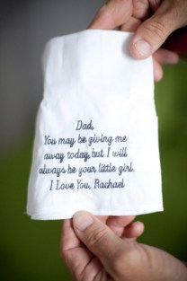 Handkerchief to give to your dad on the day of your wedding