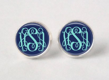 Monogram stud earrings, by neworleansbeanieco on etsy.com