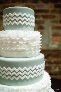 Ruffles and chevron wedding cake