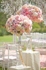 Tall pink flower centrepieces