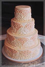Blush and ivory wedding cake