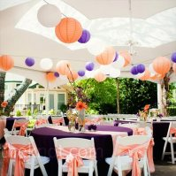 Reception in purple and peach colours