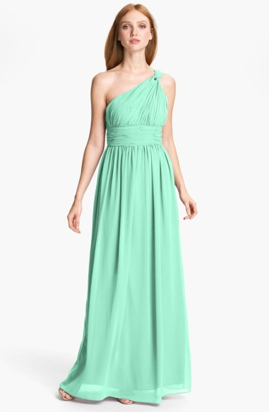 Donna Morgan Ruched One Shoulder Chiffon Gown, from nordstrom.com