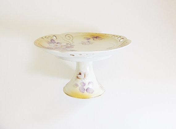 Vintage pedestal plate, by jarmfarm on etsy.com