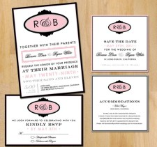 Wedding invitation suite, by vohandmade on etsy.com