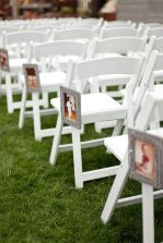 Line the aisle with photos of the bride and groom through the years