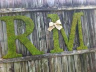 Moss-covered wooden letters, by VintageShore on etsy.com
