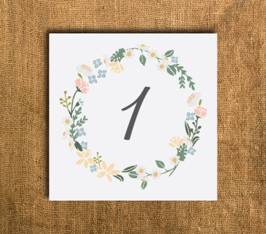 Table numbers, by PrettyMyParty on etsy.com