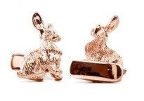 Rose-gold rabbit cufflinks, by PerfectCufflinks on etsy.com