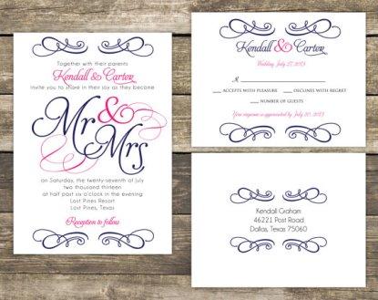 Wedding invitation, by mycharmingprints on etsy.com
