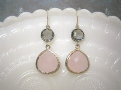 Blush and grey earrings, by LisaDJewelry on etsy.com
