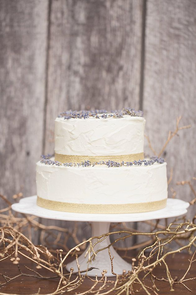 Lavender and gold wedding cake {via bridalmusings.com}