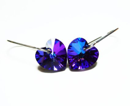 Swarovski crystal heart earrings, by AngelBDesigns on etsy.com