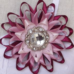 Burgundy and pink brooch or decoration, by PetalPerceptions on etsy.com
