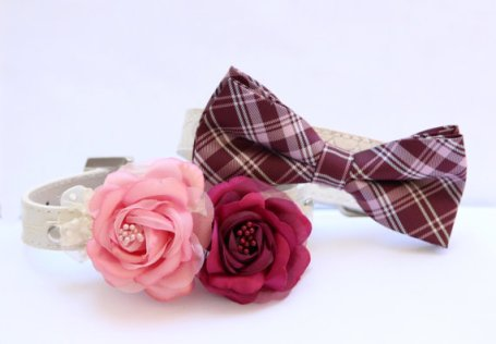 Burgundy and pink dog collars, so your pet can be in the ceremony! By LADogStore on etsy.com
