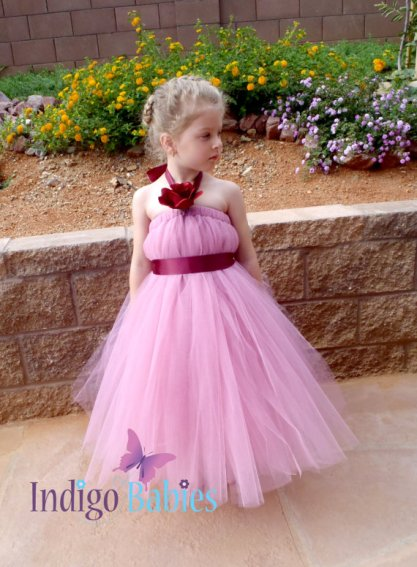 Burgundy and pink flower girl tutu dress, by indigobabies on etsy.com