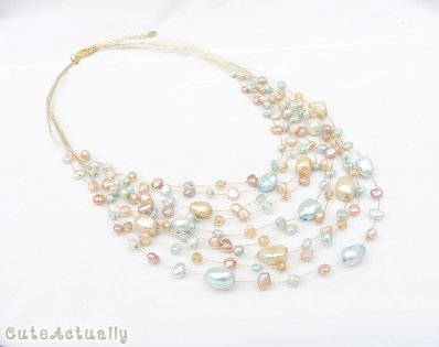 Multi-strand freshwater pearl necklace, by CuteActually on etsy.com