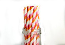 Pink and orange paper straws, by FancyThatLoved on etsy.com