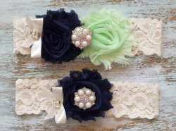 Navy and mint garters - www.etsy.com/shop/PiccadillyCottage