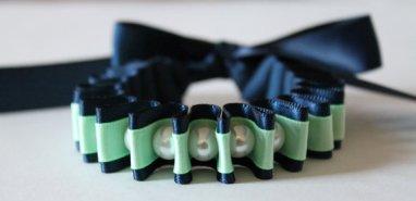 Navy and mint ribbon bracelet - www.etsy.com/shop/JewelrybyAshNicole