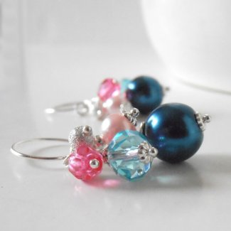 Teal and pink earrings - www.etsy.com/shop/FiveLittleGems