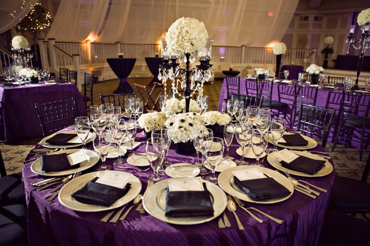 Black, White And Purple Wedding Reception {via Weddingwoof