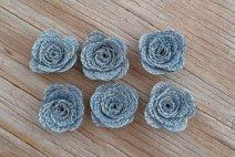 Dusty blue burlap decorative flowers - www.etsy.com/shop/BellaSupplyBoutique